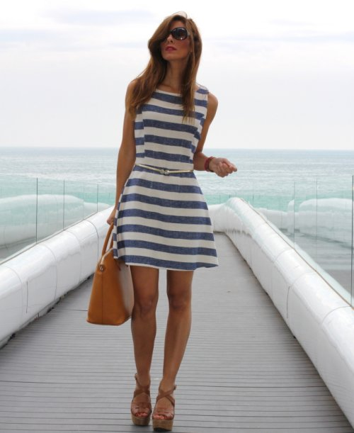 blue and white casual dress photo - 1