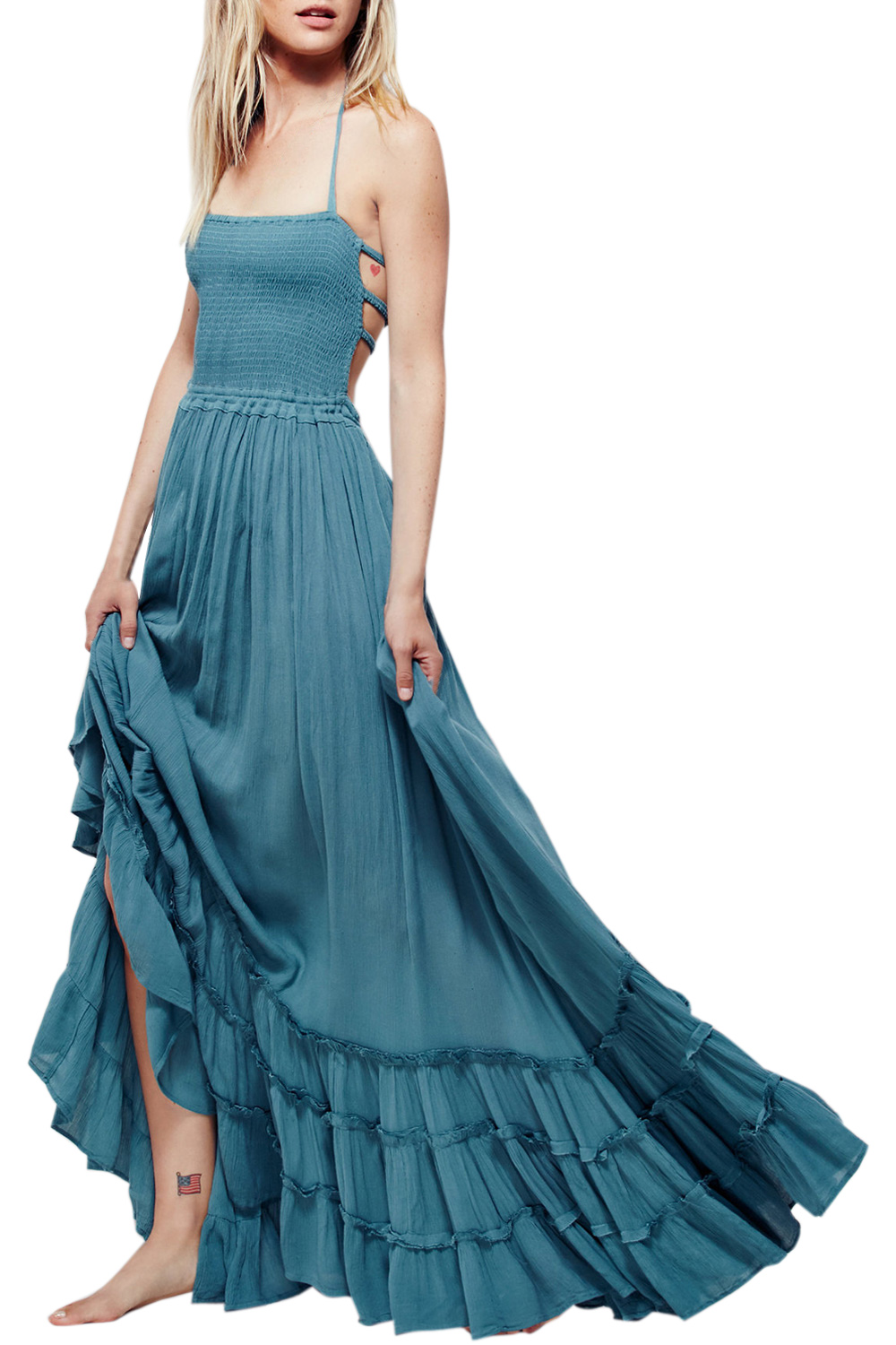 casual backless maxi dress photo - 1