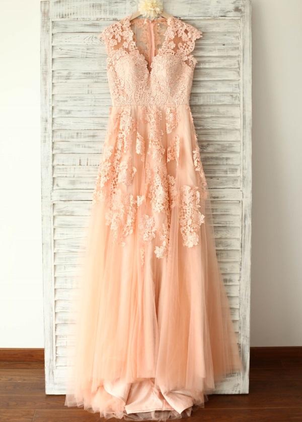 casual blush wedding dress photo - 1