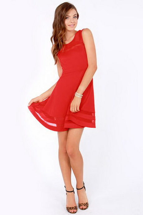 casual red dress juniors photo - 1