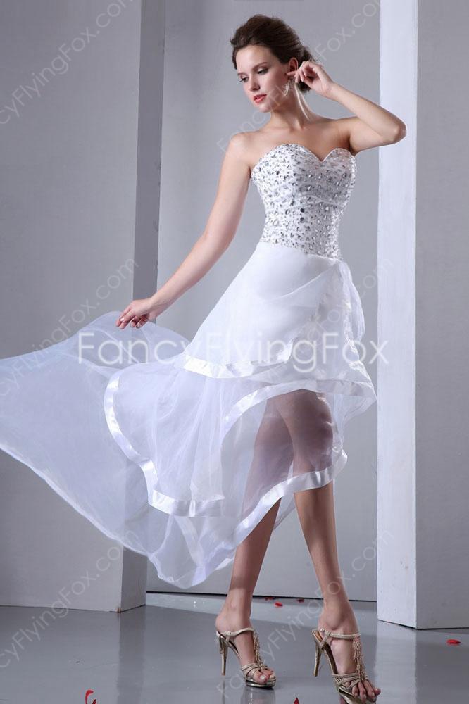 casual white hi low dress photo - 1