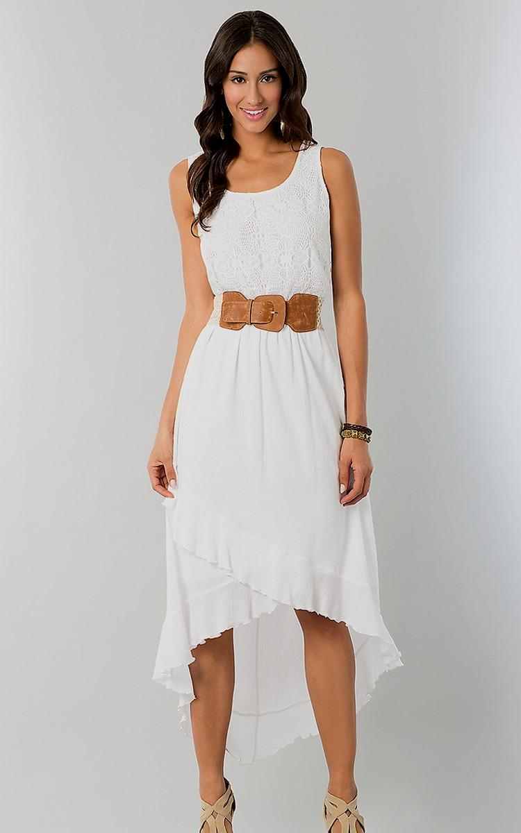 casual white high low dress photo - 1