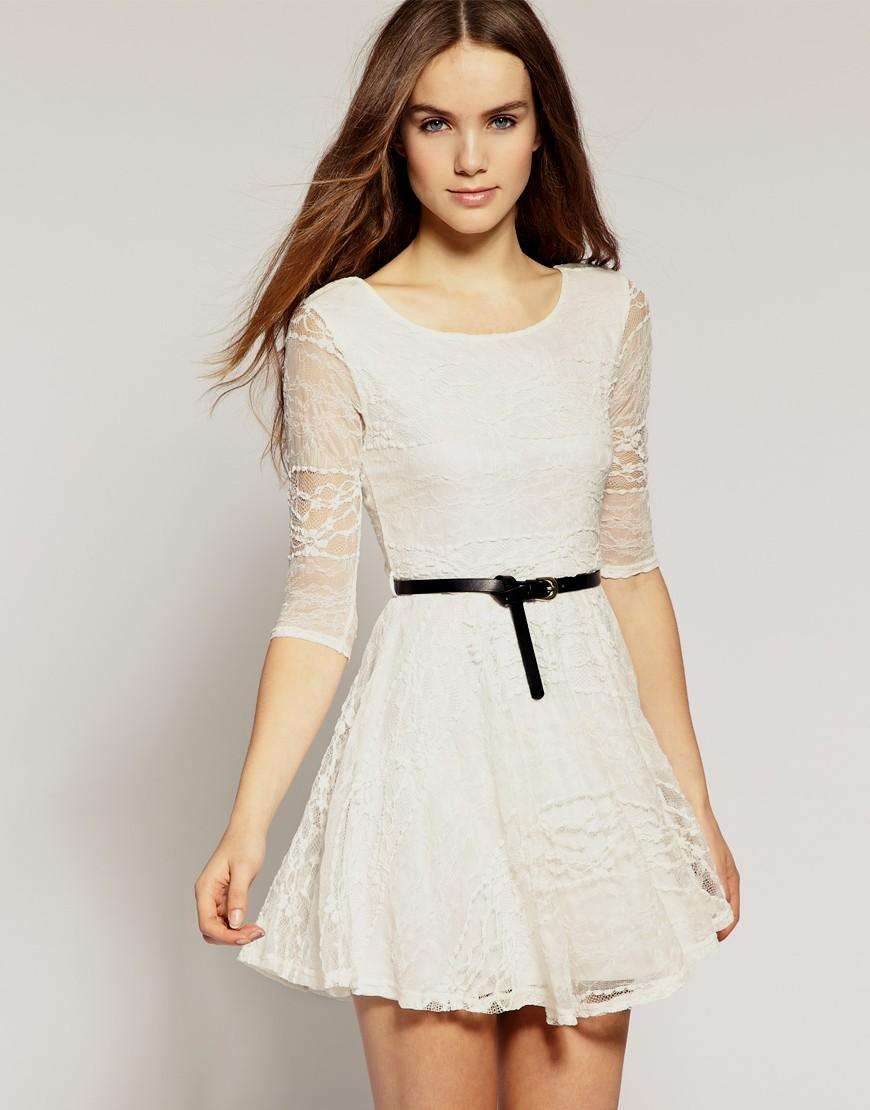 casual white lace dress photo - 1