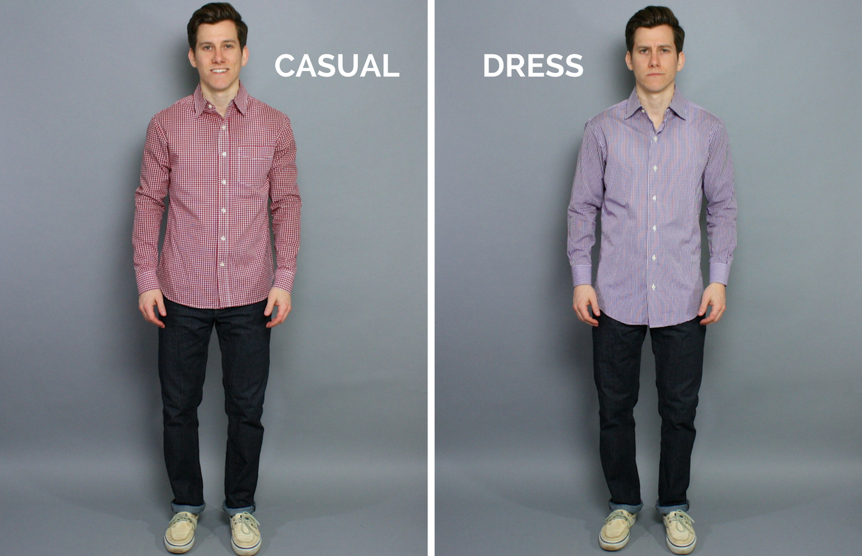 dress shirt vs casual shirt photo - 1