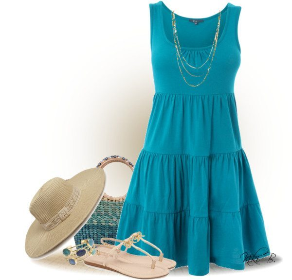 green casual dress photo - 1