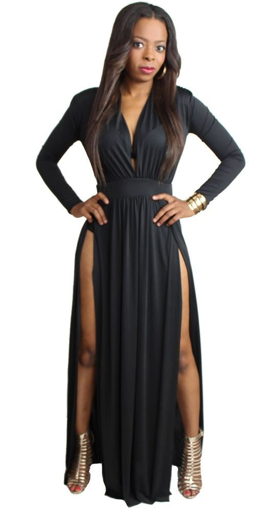 long sleeve casual maxi dress photo - 1