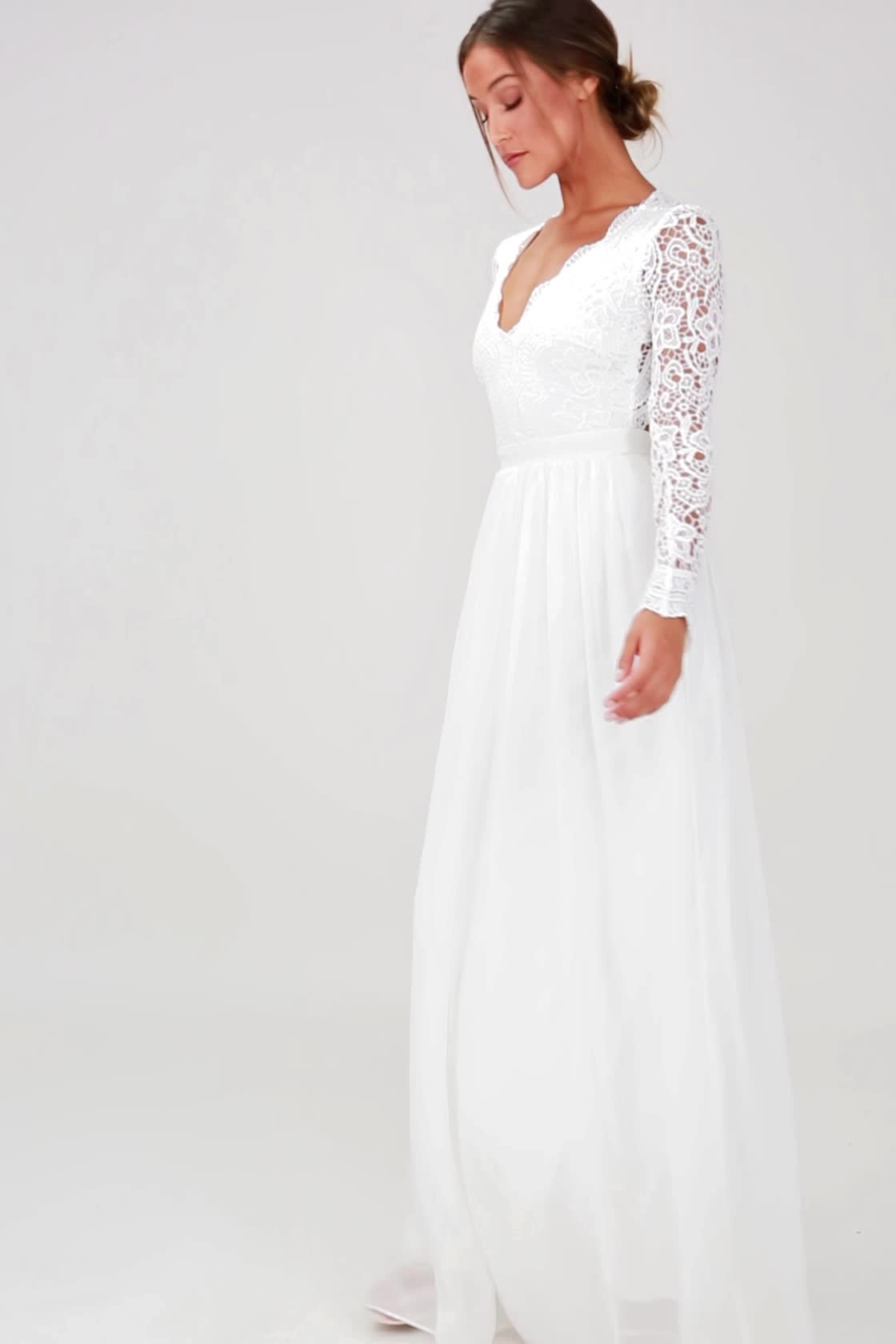 long sleeve casual wedding dress photo - 1