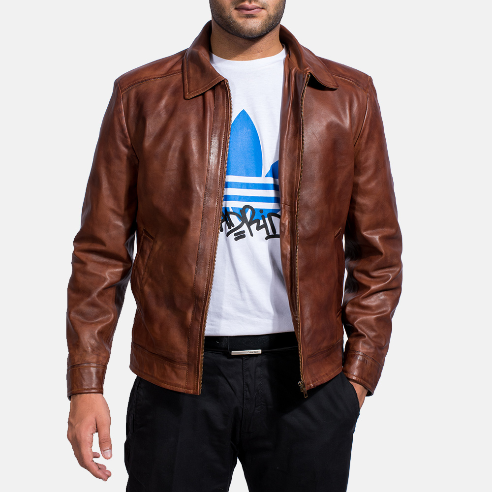mens biker style leather jacket photo - 1