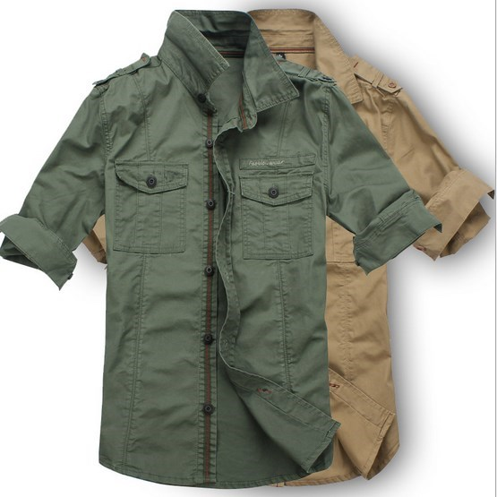 mens military-style cargo shirts photo - 1
