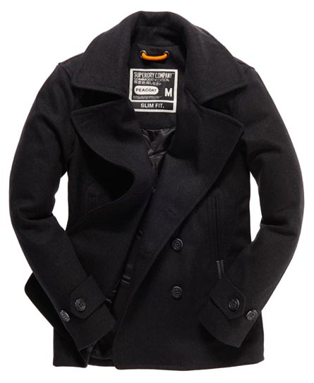 mens military style pea coat photo - 1