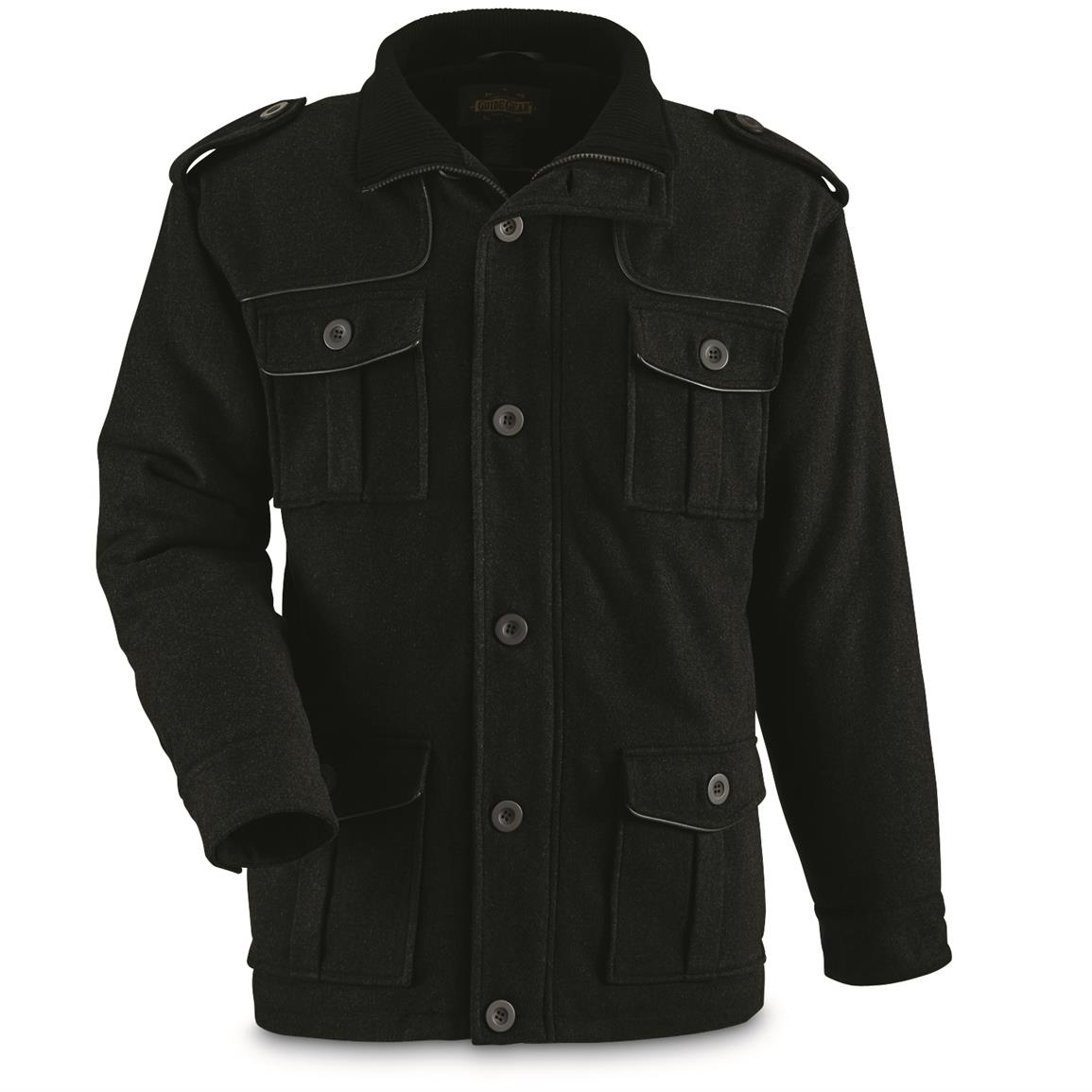 mens wool military style jacket photo - 1