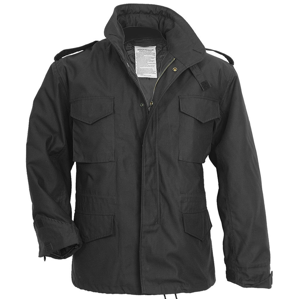 military style jacket mens black photo - 1