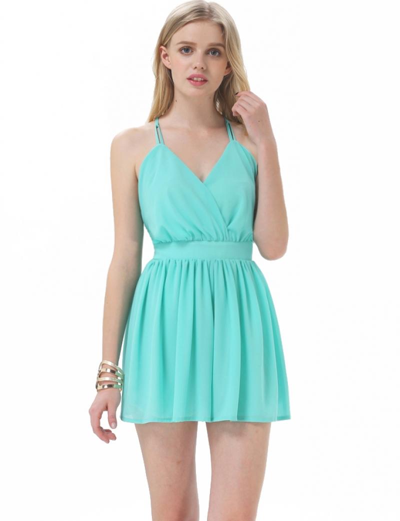 mint green casual dress photo - 1