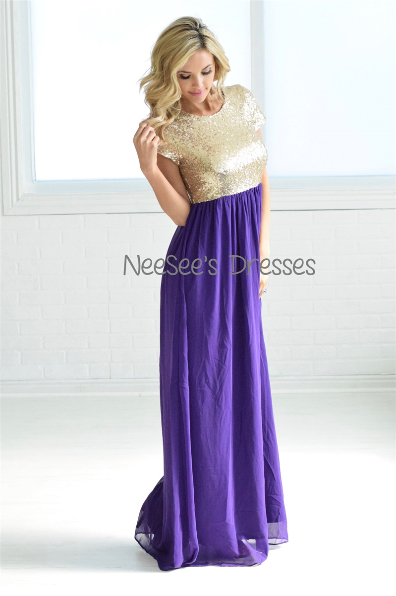 purple and gold casual dress photo - 1