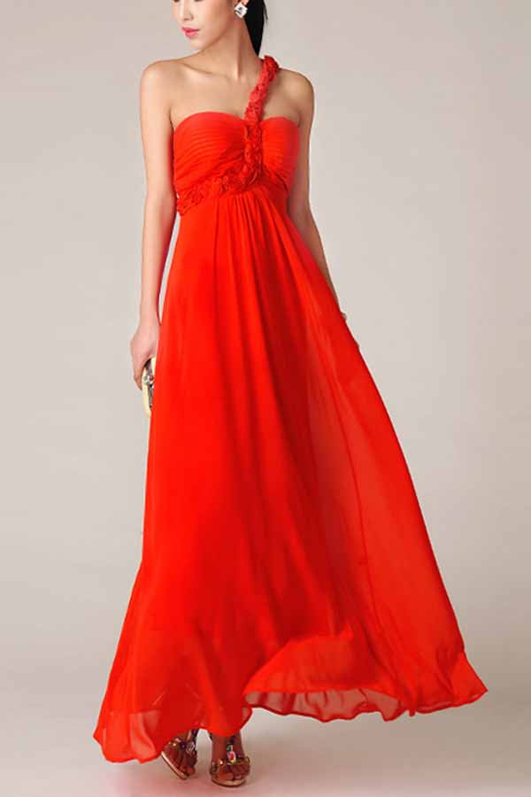 red casual maxi dress photo - 1
