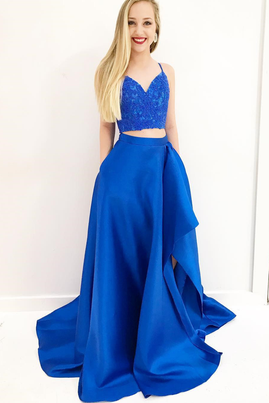 royal blue casual dress photo - 1