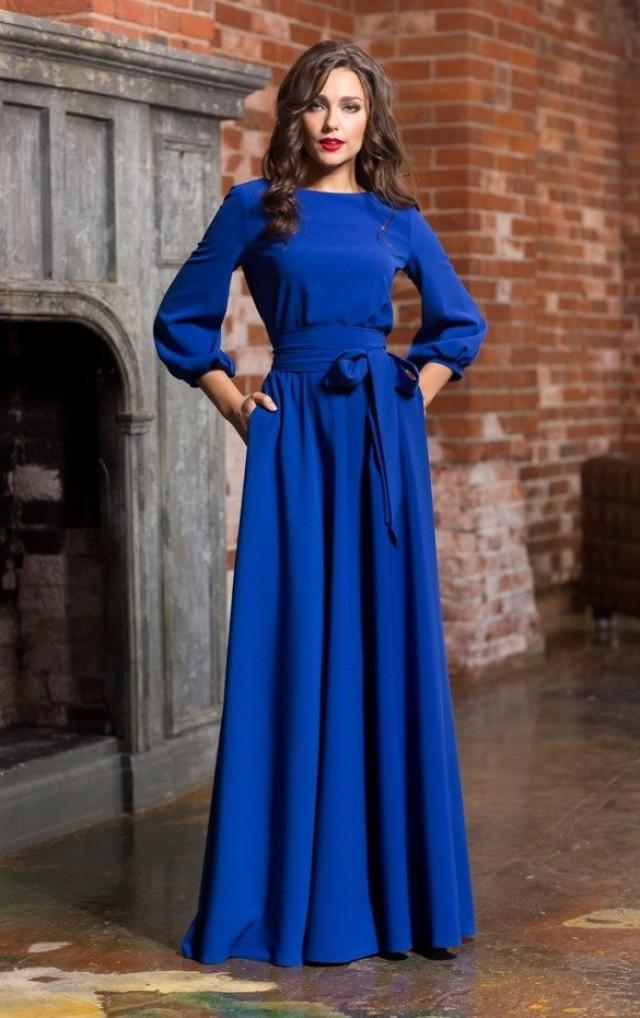 royal blue casual dress with sleeves photo - 1