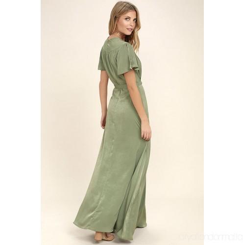 sage green casual dress photo - 1