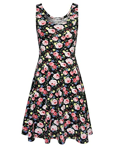 toms ware womens casual fit and flare floral sleeveless dress photo - 1