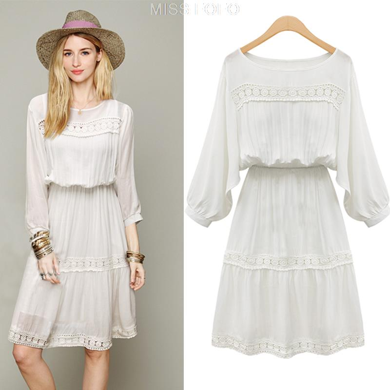 white casual dress with sleeves photo - 1