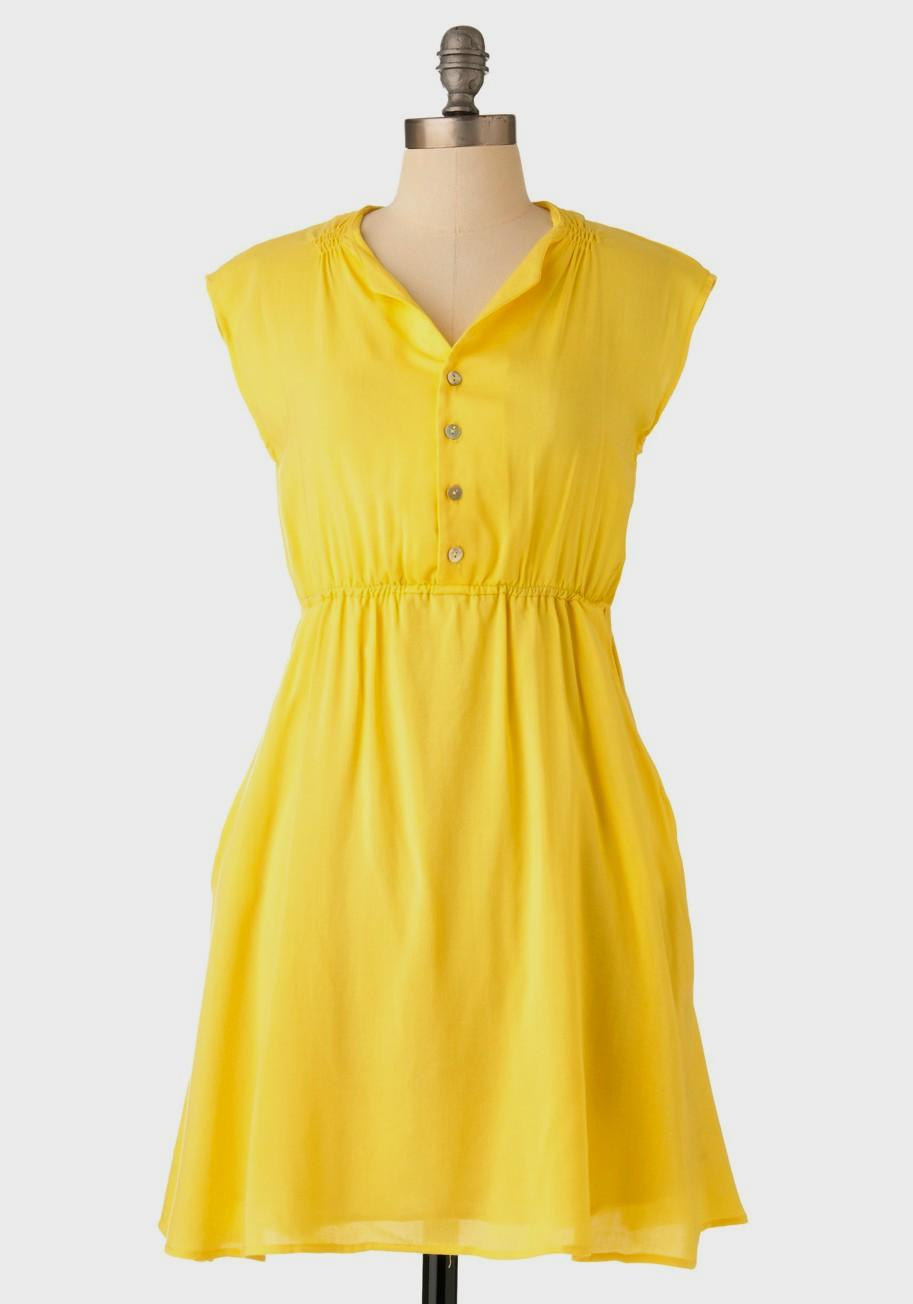 yellow casual dress photo - 1