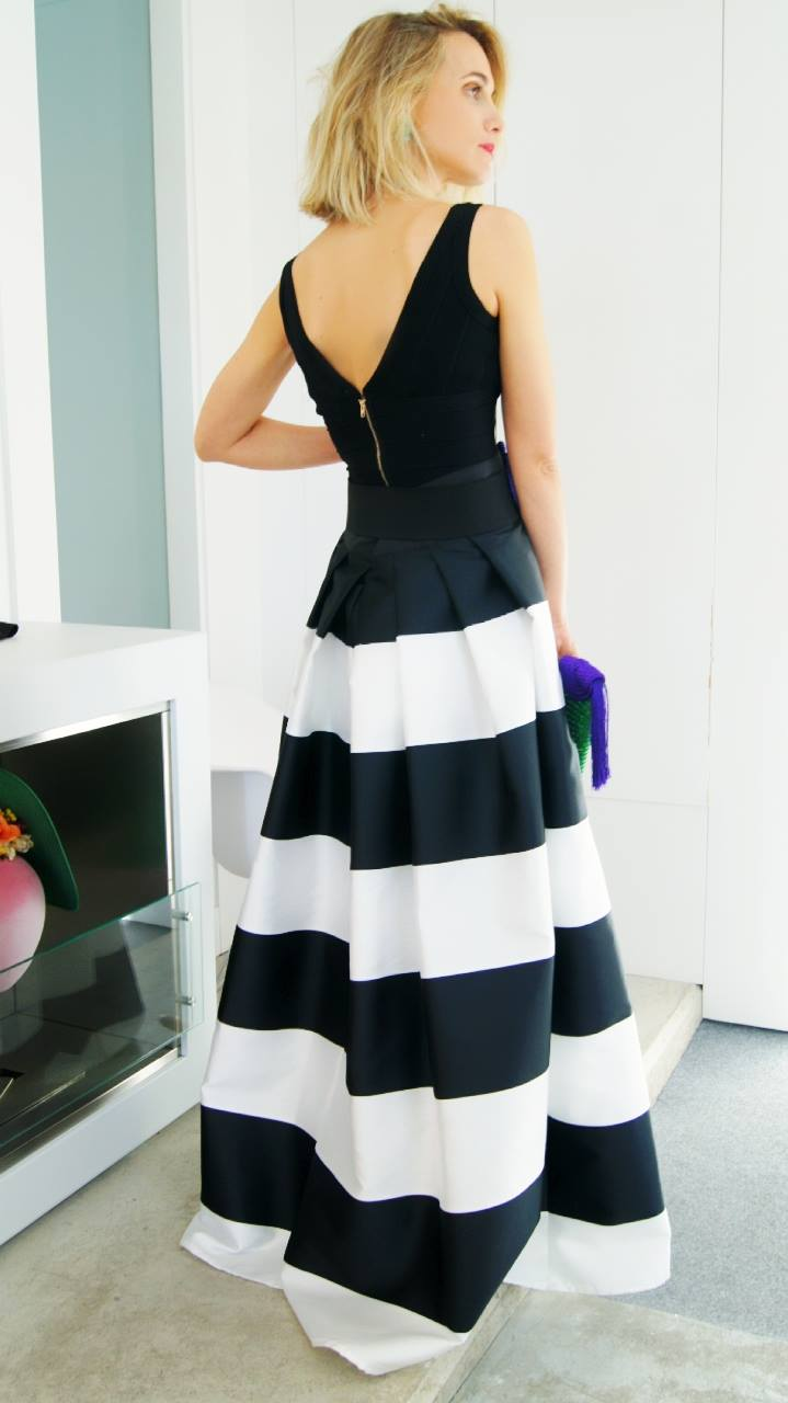 black and white striped casual dress photo - 1