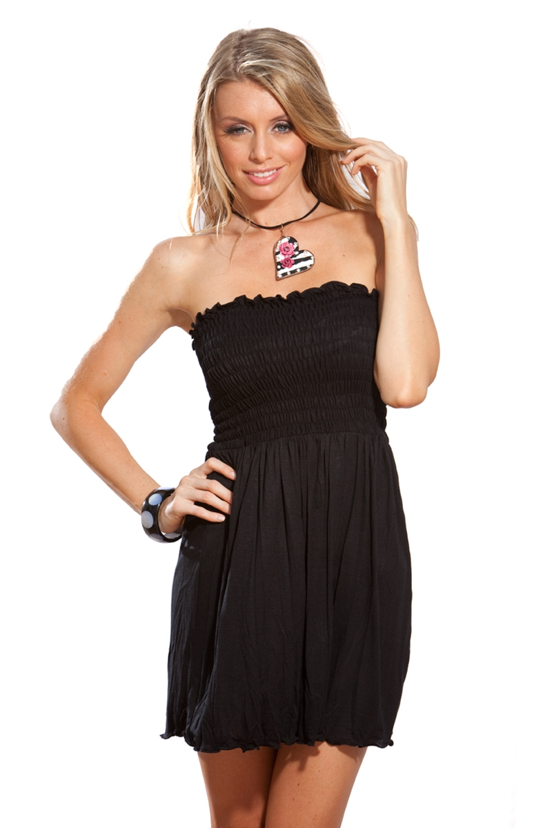 black strapless casual dress photo - 1