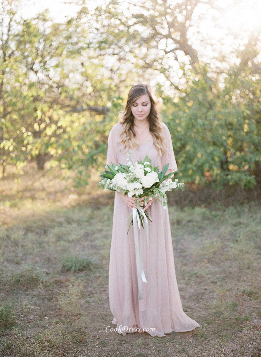 casual wedding dress sleeves photo - 1