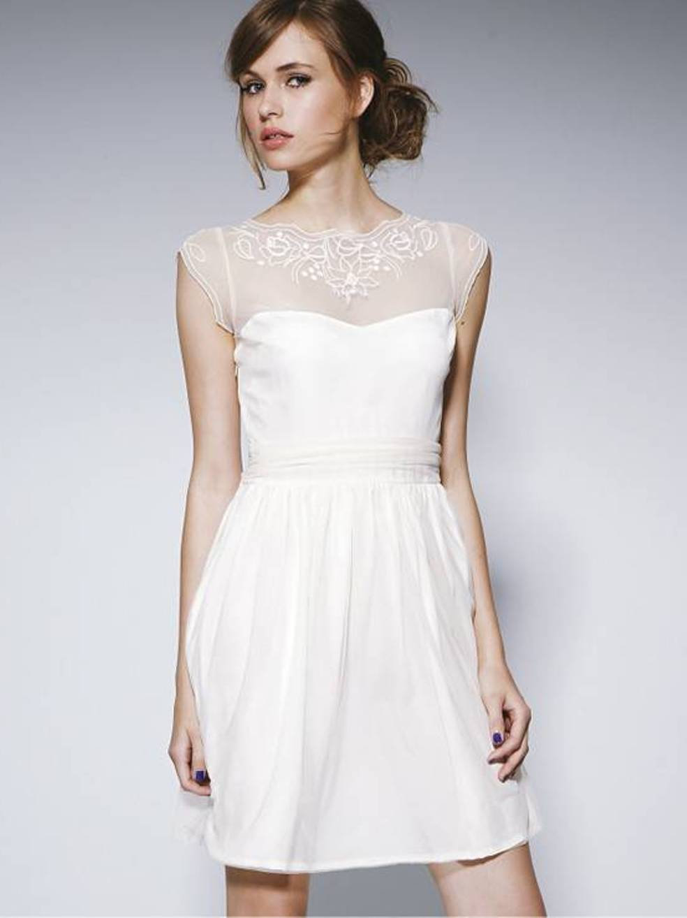 casual white dress for wedding photo - 1