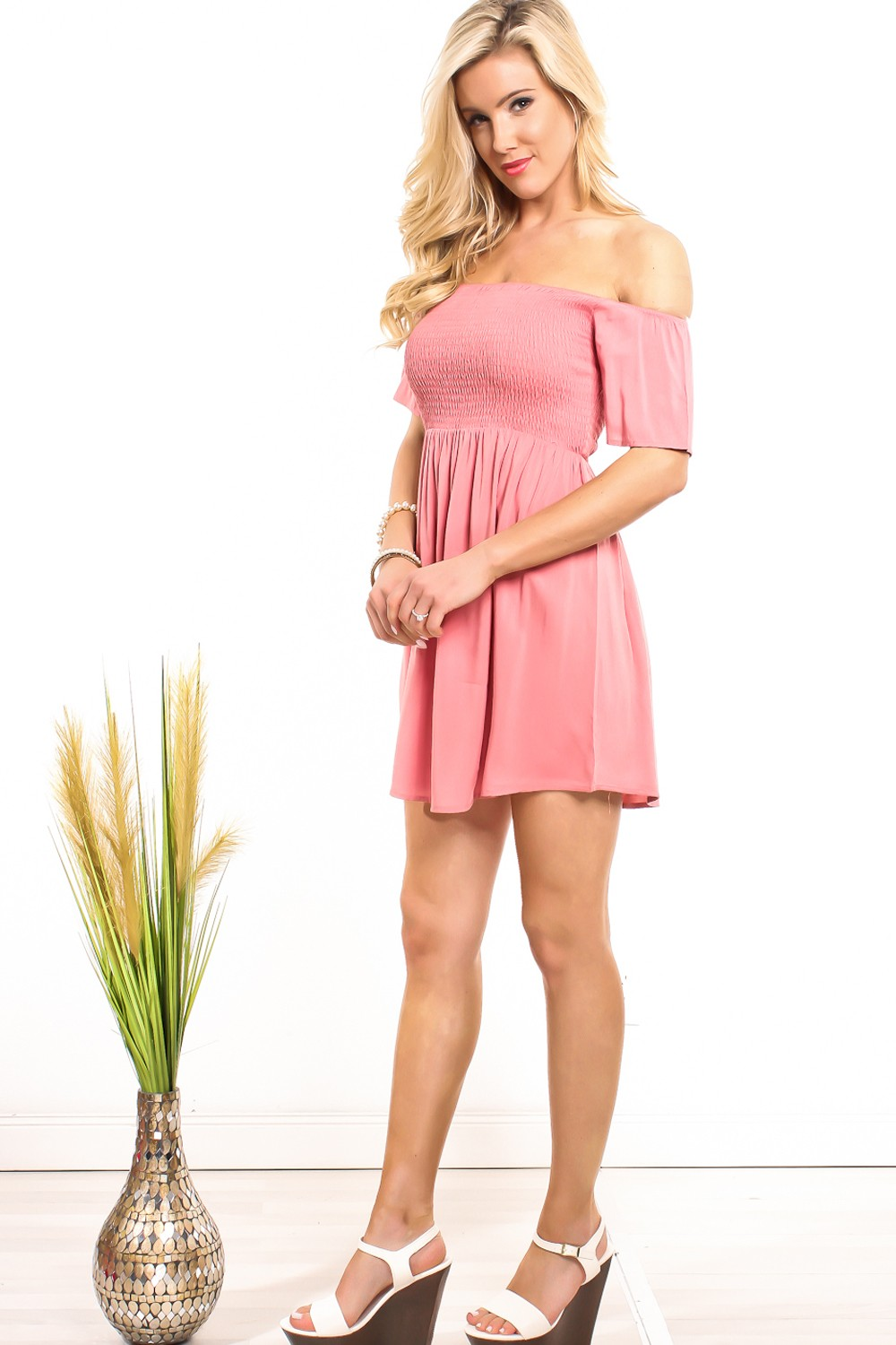 dusty rose casual dress photo - 1