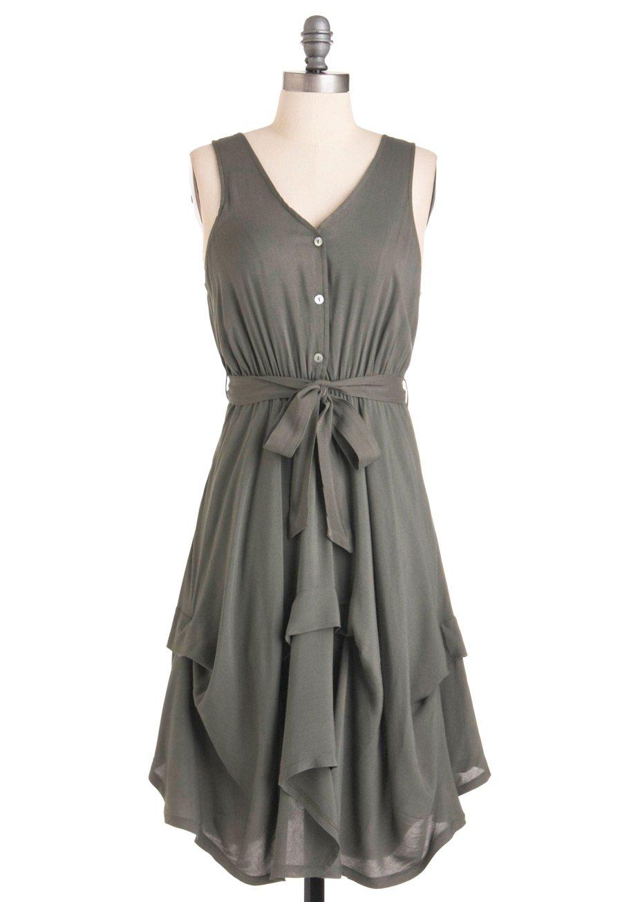 grey casual dress photo - 1