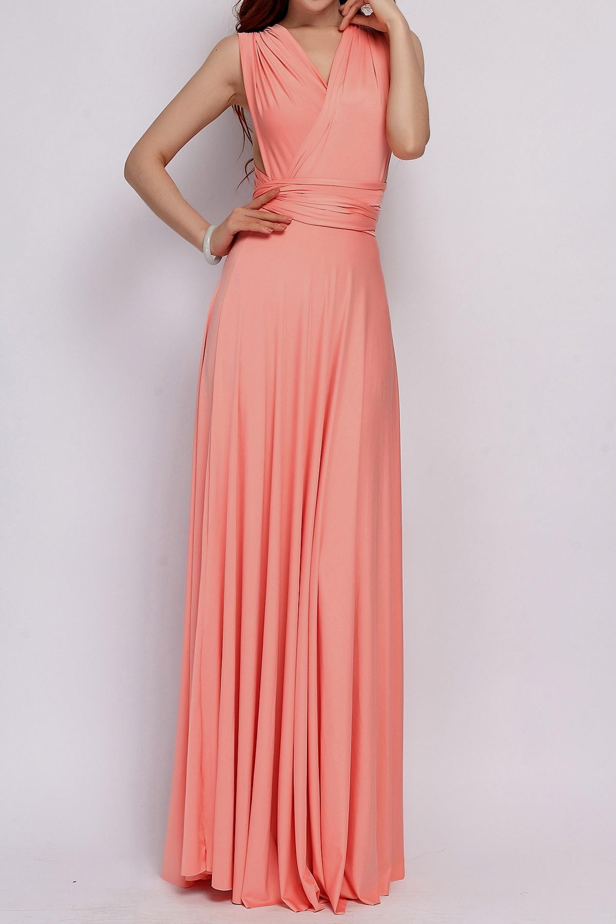 light pink casual maxi dress photo - 1