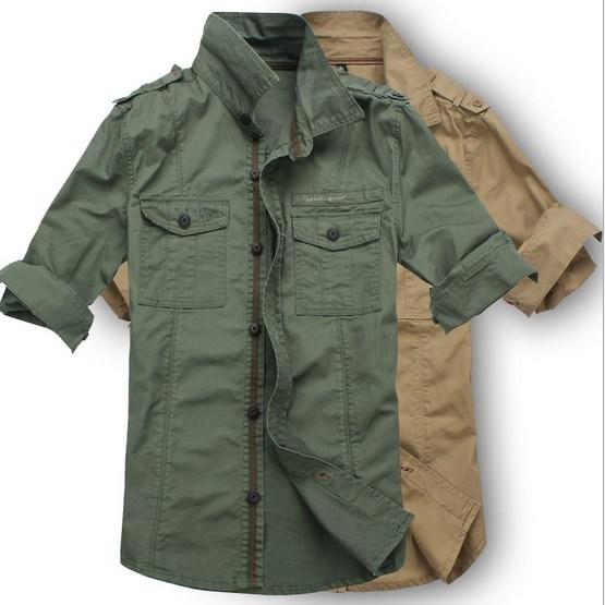 mens military-style cargo shirts photo - 1