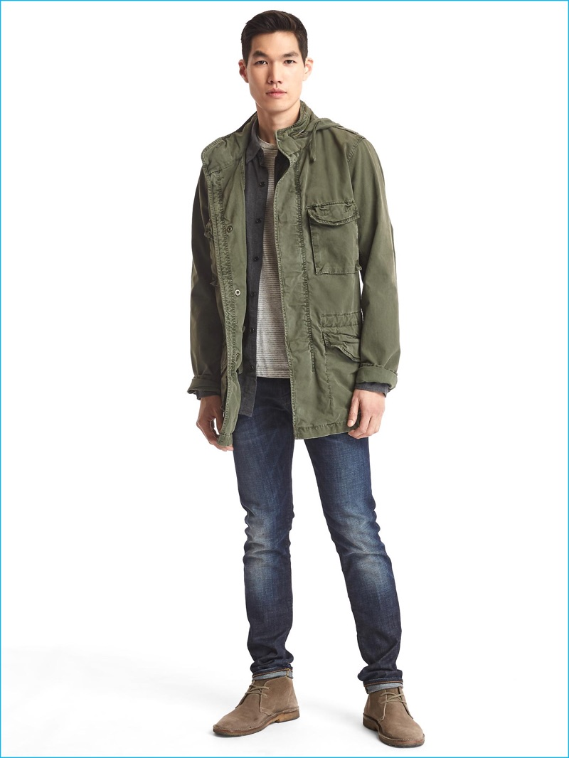 mens military style jacket green photo - 1