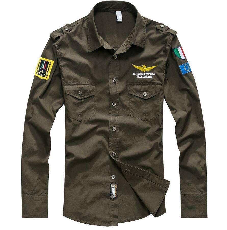 mens military style shirt photo - 1