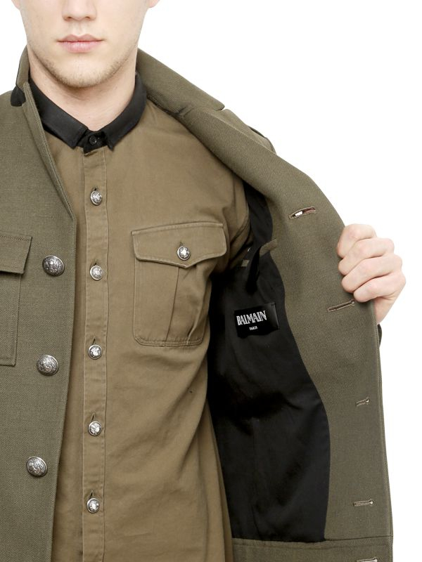 mens military style wool coat photo - 1