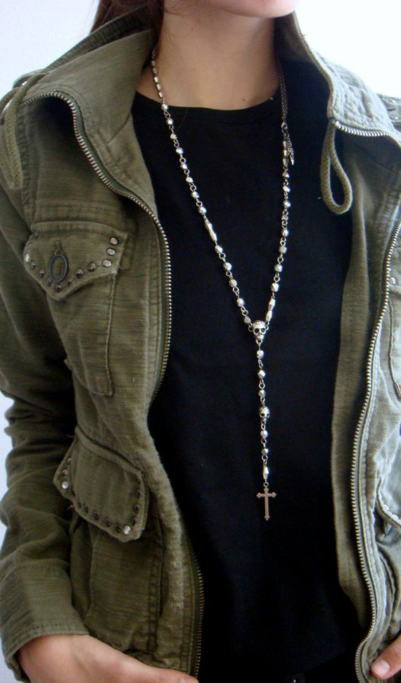 mens rosary style necklace photo - 1