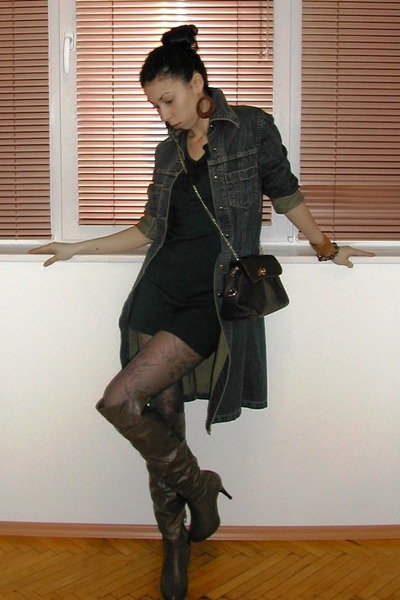olive green casual dress photo - 1