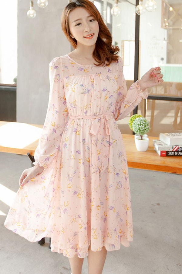 pale pink casual dress photo - 1
