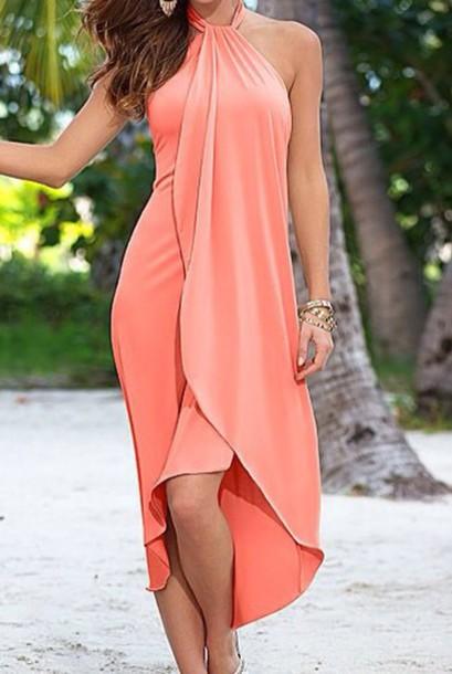 peach casual dress photo - 1