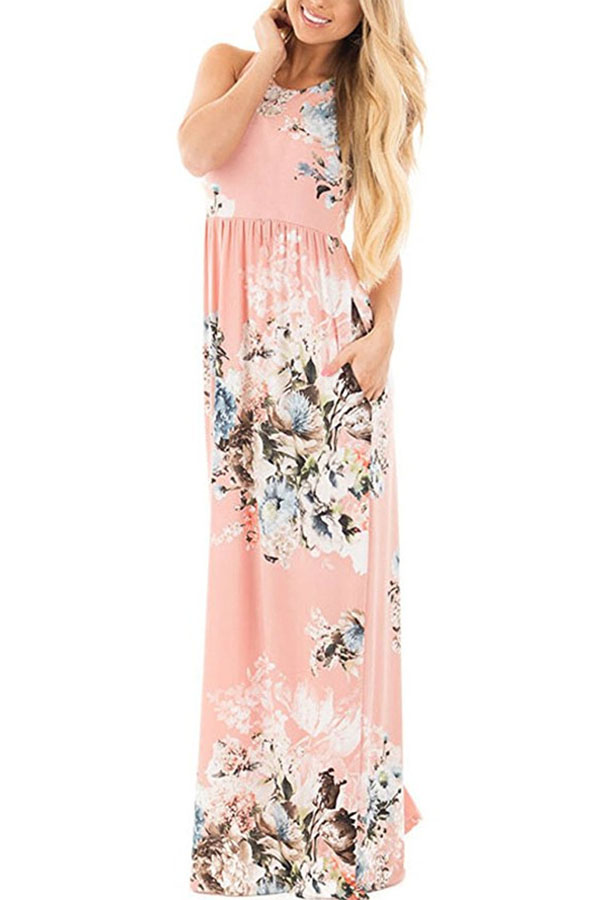 pink maxi dress casual photo - 1