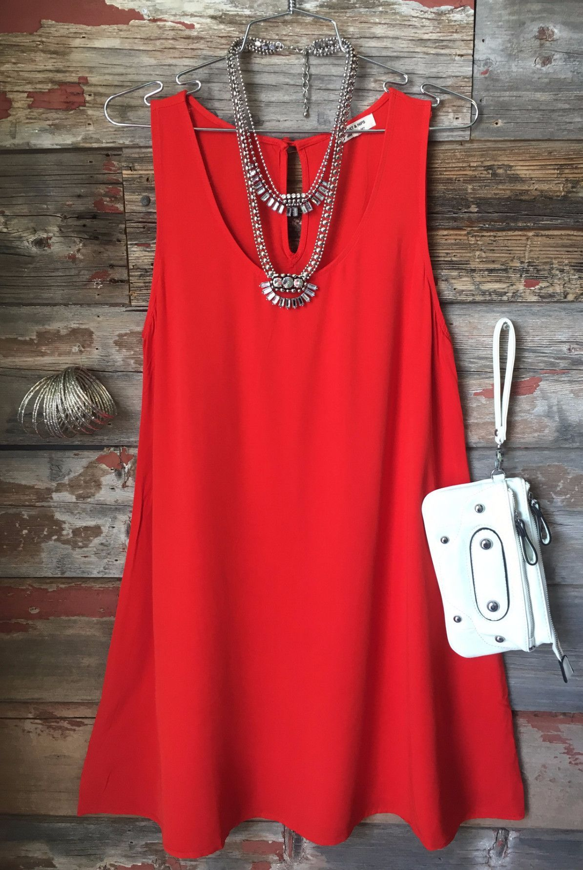 red casual dress photo - 1