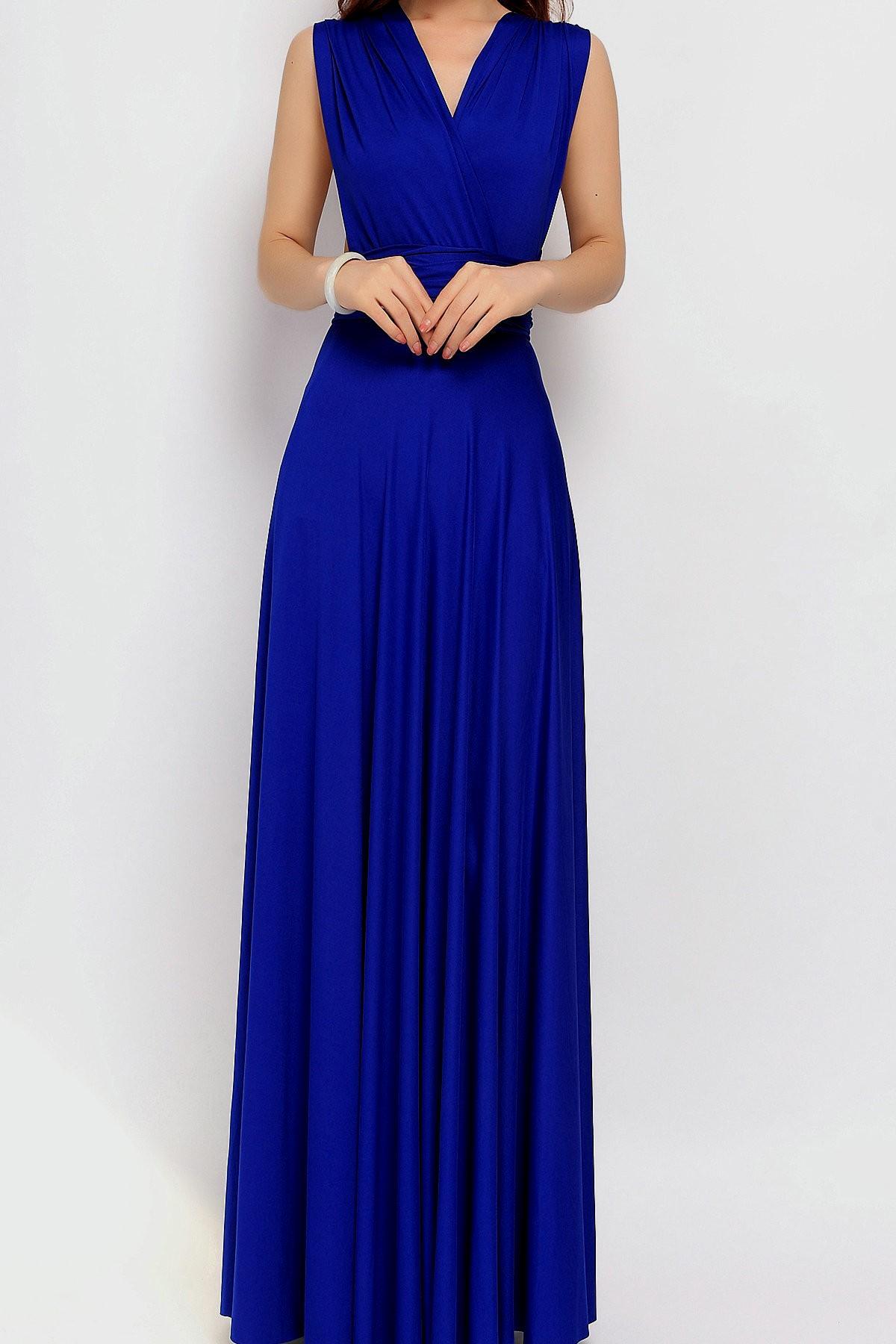 royal blue maxi dress casual photo - 1