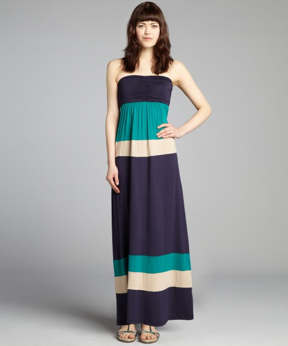 strapless casual maxi dress photo - 1