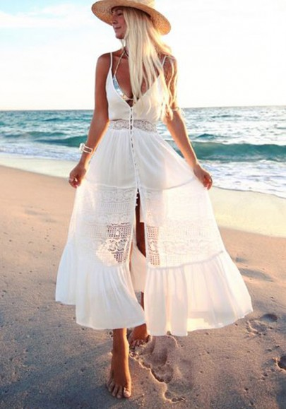 white lace casual dress photo - 1